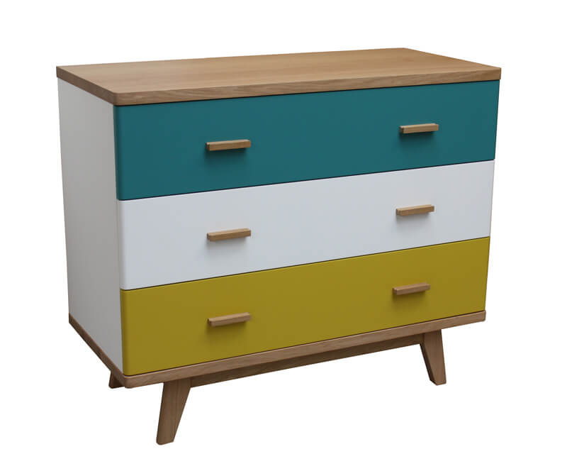 commode 3 tiroirs ch ne blanchi et laqu bleu canard jaune citron et blanc. Black Bedroom Furniture Sets. Home Design Ideas