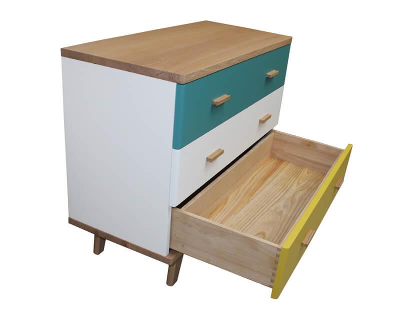 commode 3 tiroirs ch ne blanchi et laqu bleu canard jaune citron et blanc. Black Bedroom Furniture Sets. Home Design Ideas