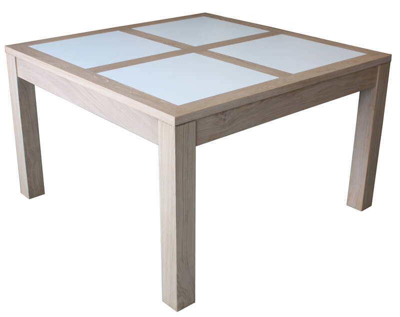 Table repas carr e 1 allonge ch ne blanchi corian blanc for Table de chevet malm chene blanchi