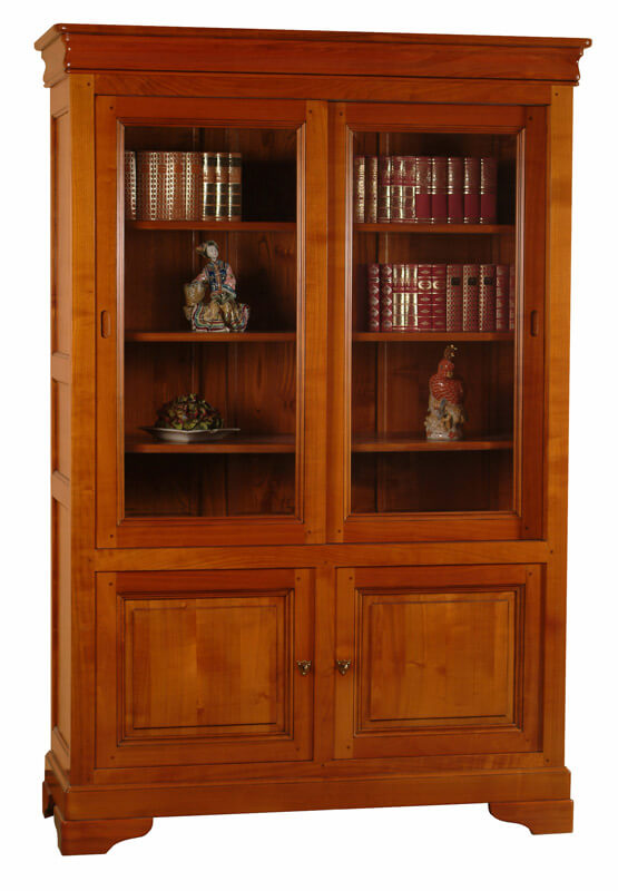 biblioth que vitrine bas 2 portes pleines haut 2 portes vitr es coulissantes louis philippe. Black Bedroom Furniture Sets. Home Design Ideas