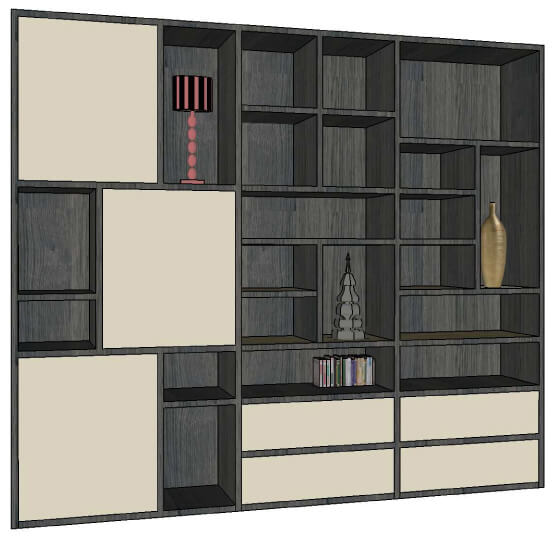 composition murale tv biblioth que bas 5 tiroirs milieu 3 relevants ch ne naturel laqu. Black Bedroom Furniture Sets. Home Design Ideas