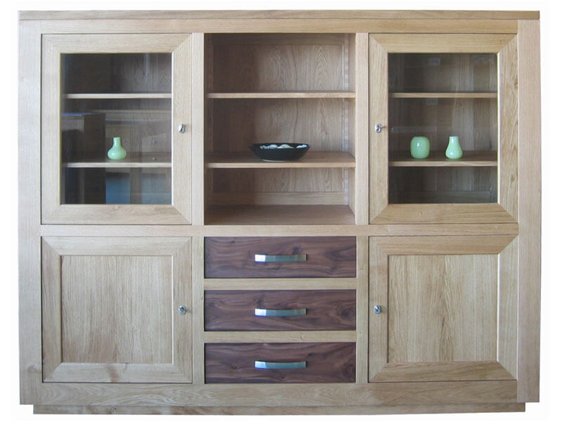 buffet vitrine 2 portes vitr es 2 tiroirs ch ne naturel bois 100 massif. Black Bedroom Furniture Sets. Home Design Ideas