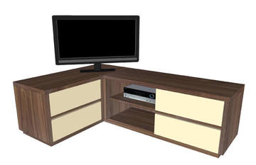 22270a buffet tv en angle 4 tiroirs 1 niche solstis noyer naturel et tiroirs laqu vanille. Black Bedroom Furniture Sets. Home Design Ideas