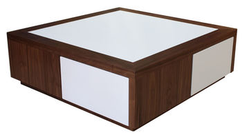 22510 Table basse 4 tiroirs étoile Noyer naturel & corian vanille