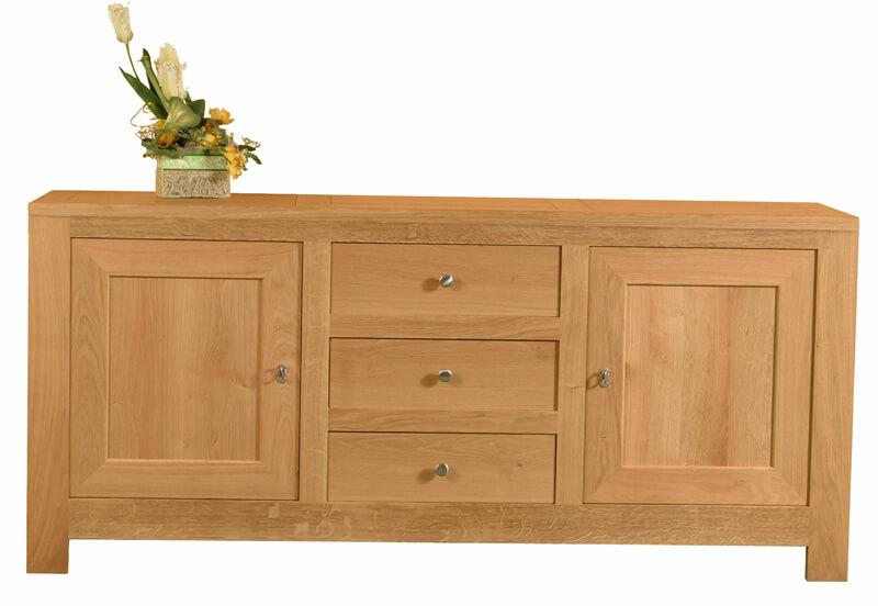 buffet 2 portes 6 tiroirs ch ne naturel bois 100 massif. Black Bedroom Furniture Sets. Home Design Ideas