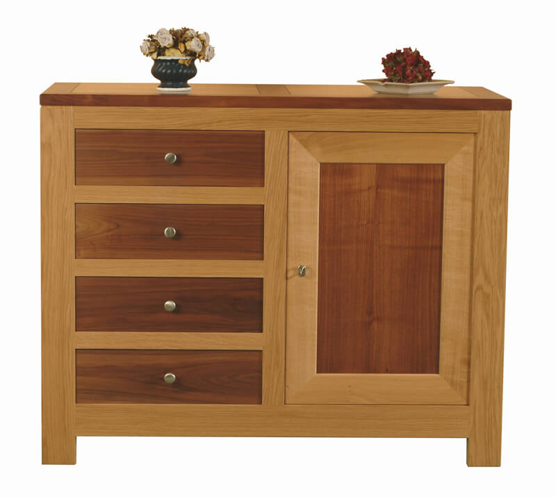 buffet 1 porte 4 tiroirs ch ne noyer naturel bois 100 massif. Black Bedroom Furniture Sets. Home Design Ideas