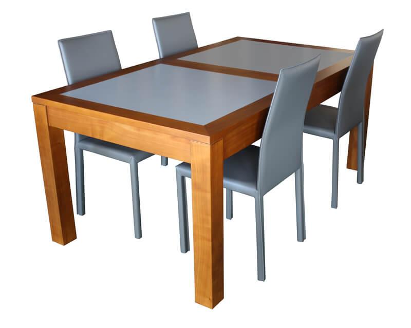 Table repas rectangulaire 2 allonges merisier teint clair verre laqu gris beige mat - Pirotais meubles ...