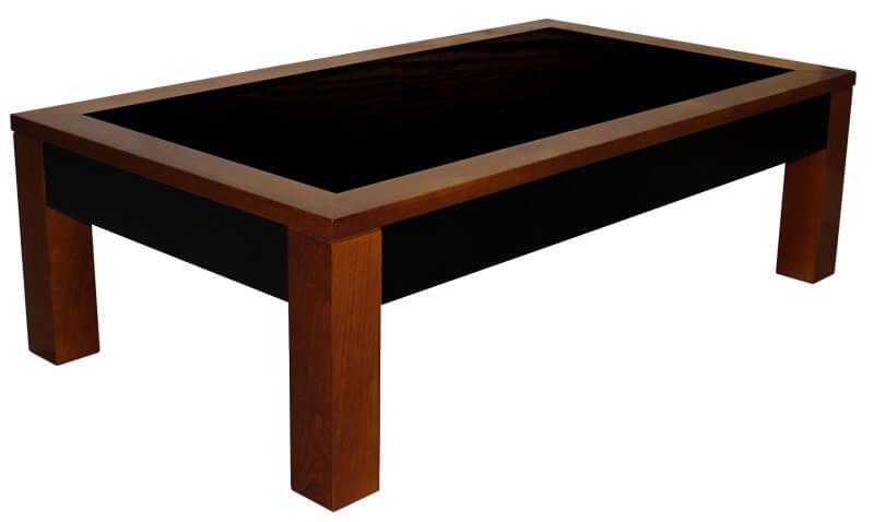 Table Basse 2 Tiroirs Merisier Teinté Verre Laqué Noir