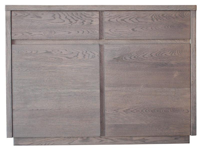 buffet 2 portes 2 tiroirs ch ne flott d fibr gris bois 100 massif. Black Bedroom Furniture Sets. Home Design Ideas