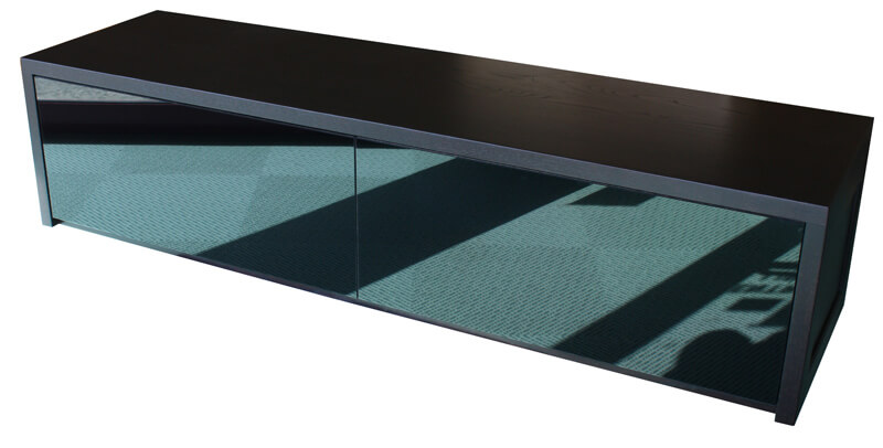 buffet tv 2 tiroirs ch ne weng verre laqu noir. Black Bedroom Furniture Sets. Home Design Ideas