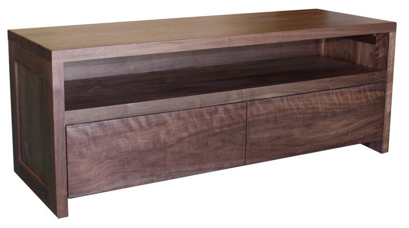 buffet tv 2 tiroirs 1 niche ch ne blanchi et laqu blanc. Black Bedroom Furniture Sets. Home Design Ideas