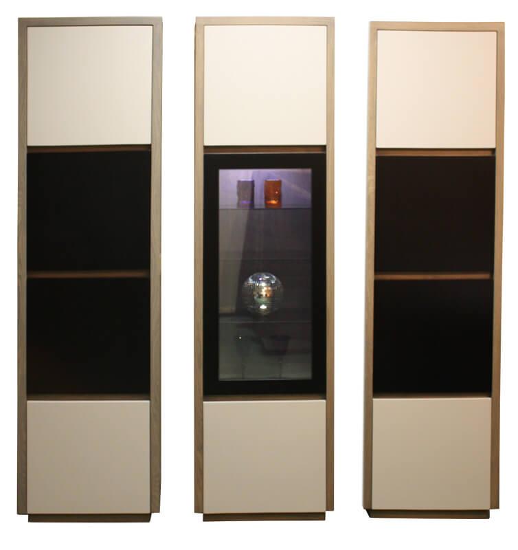 Colonne vitrine 1 porte pleine 1 porte vitr e tag res verres clairage leds ch ne weng bois - Pirotais meubles ...