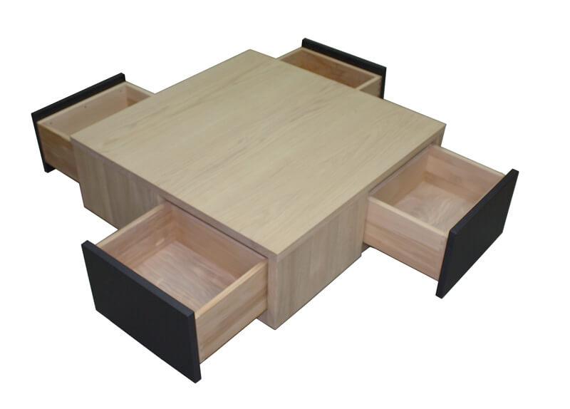 table basse 4 tiroirs en toile ch ne blanchi et laqu. Black Bedroom Furniture Sets. Home Design Ideas