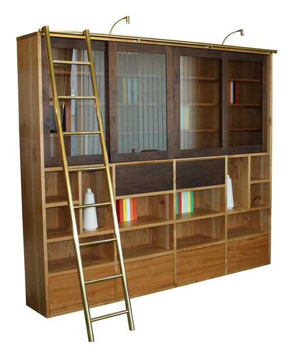 composition murale biblioth que bas 4 tiroirs milieu 4 relevants ch ne flott laqu bleu canard. Black Bedroom Furniture Sets. Home Design Ideas