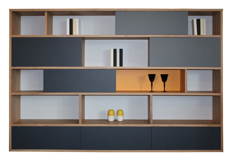 65450-Bibliothèque murale 4 portes coulissantes 3 tiroirs Chêne   laqué  gris noir et jaune 64f39e2910e5
