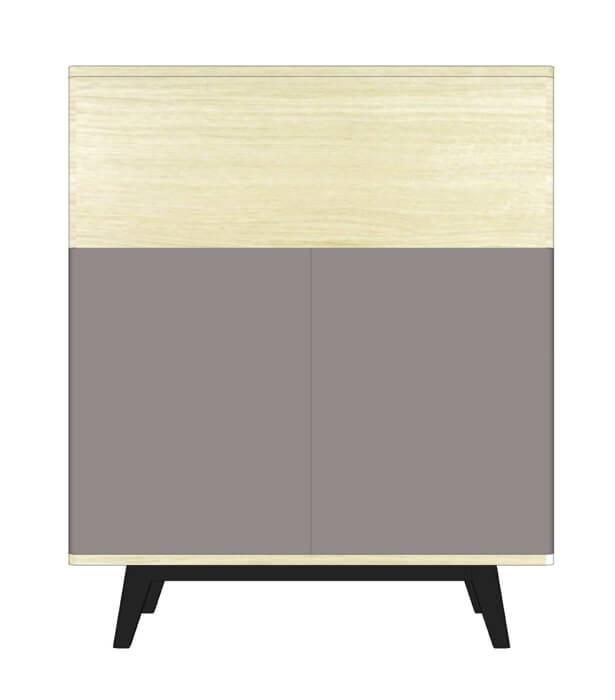 vaisselier 2 portes 1 abattant ch ne blanchi et weng noir laqu gris. Black Bedroom Furniture Sets. Home Design Ideas