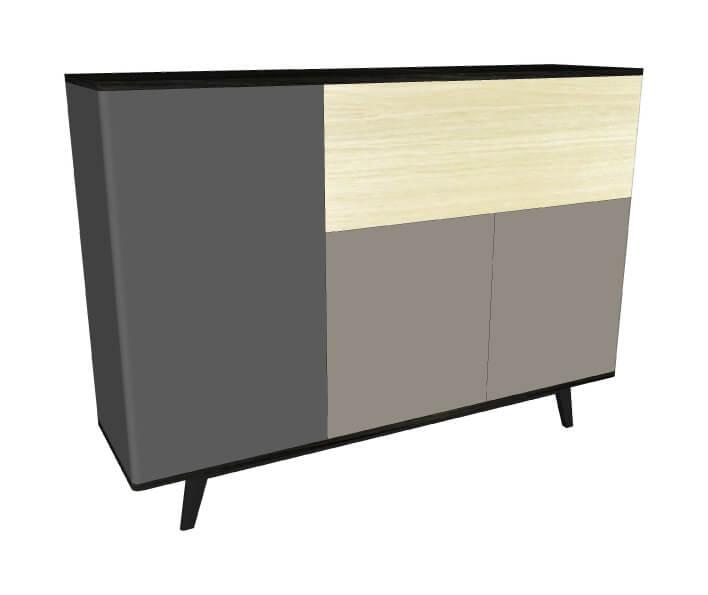 vaisselier 3 portes 1 abattant ch ne blanchi et weng noir laqu gris. Black Bedroom Furniture Sets. Home Design Ideas