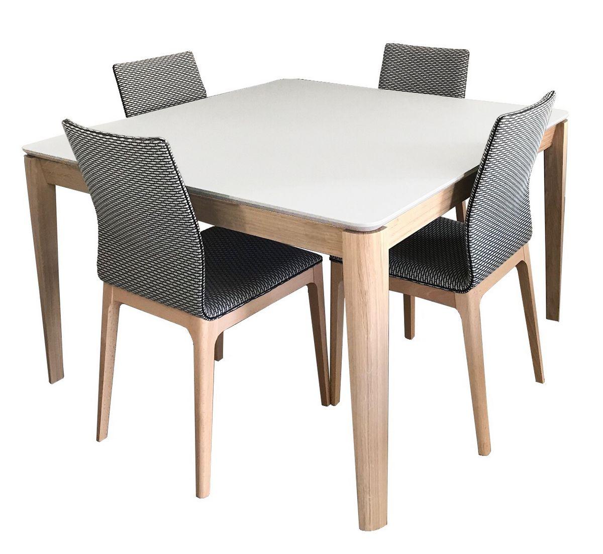 Table carrée Fénix noir et Chêne blanchi