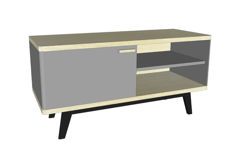 buffet tv 2 portes 1 niche ch ne blanchi et laqu bleu canard blanc. Black Bedroom Furniture Sets. Home Design Ideas