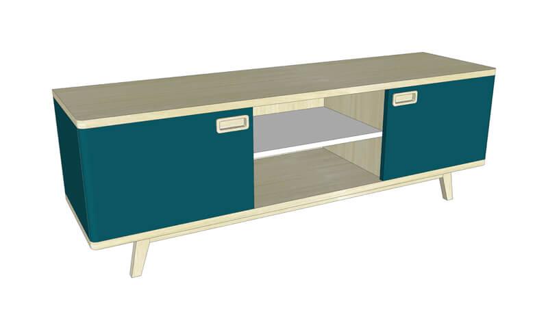 buffet tv 1 porte 1 niche ch ne blanchi et laqu gris. Black Bedroom Furniture Sets. Home Design Ideas