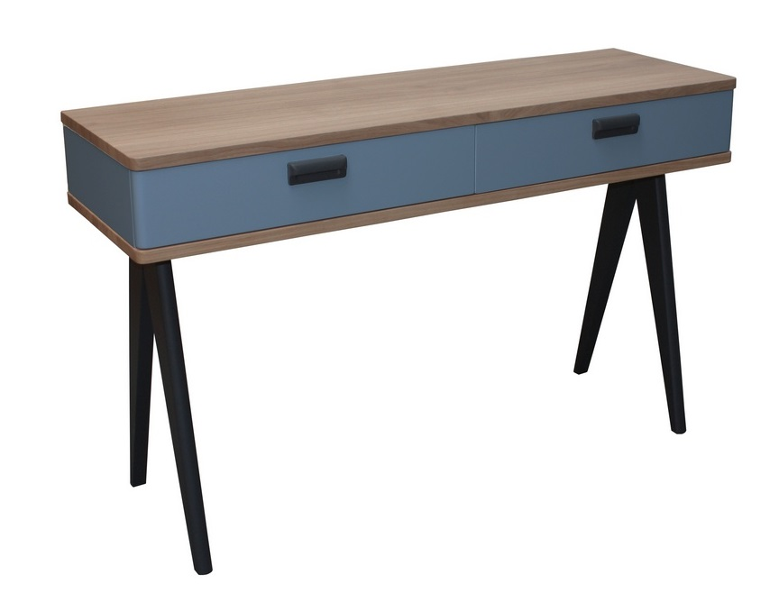Console 2 tiroirs ch ne blanchi weng noir et laqu - Pirotais meubles ...