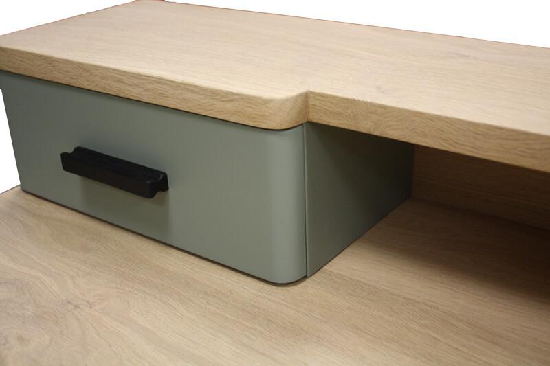 Console tiroirs chêne blanchi wengé noir et laqué rouge