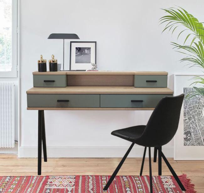 bureau secr taire 4 tiroirs ch ne blanchi et laqu vert sauge. Black Bedroom Furniture Sets. Home Design Ideas