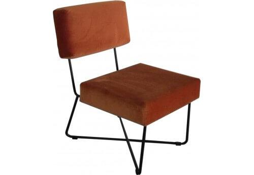 Fauteuil design en velours orange et pieds m tal noirs - Pirotais meubles ...