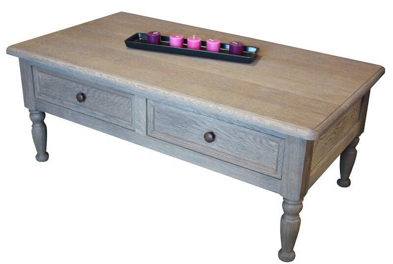 lp2561 table basse 2 tiroirs en va vient chne flott dfibr gris