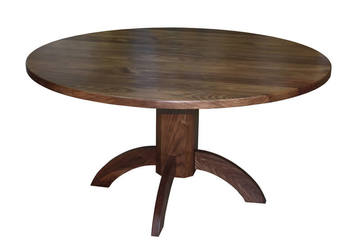 01680 Table ronde - pieds central - Noyer naturel