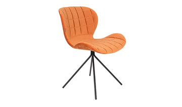 chaise omg velours orange pied métal noir